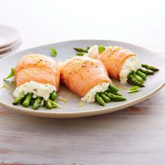 Trout Rolls with Ricotta & Asparagus