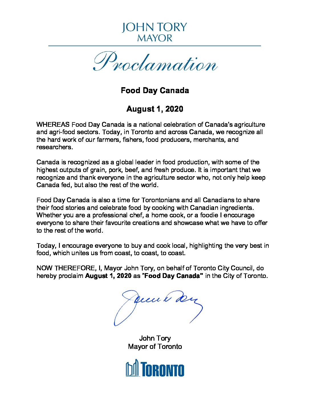 Canada's Largest City Proclaims August 1st as Food Day Canada